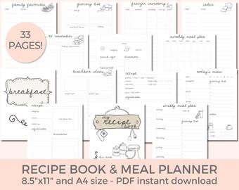 Recipe Planner Printable, Recipe Book Template, Digital Recipe Book, Recipe Template, Meal Planner Journal, Weekly Meal Plan, Grocery List