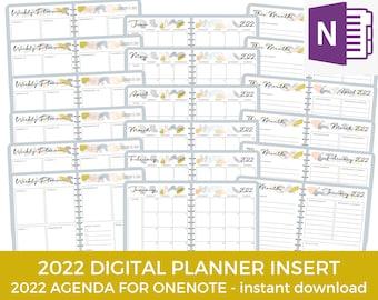 OneNote Digital Planner, One Note, 2022 Planner insert, Student Planner, Academic Planner, Work Planner, Digital Planning, ipad planner,