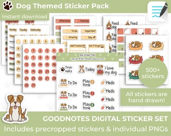 Dog digital stickers, Goodnotes stickers, Planner stickers, Cute Dog stickers, Dog lover stickers, Puppy stickers ipad, Digital sticker set