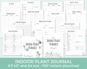 Indoor Plant Planner, Houseplant Organizer, House Plants Journal, Plant Care Printable, Potted Plant Tracker, Home Plants Planner