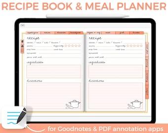 Digital recipe book, Digital cookbook, Digital meal planner, Goodnotes planner, Grocery List planner, Weekly meal prep, Menu planner,