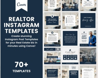 70+ Editable Instagram Posts for Realtors, Real Estate Agent Marketing Templates Canva, Social Media Quote Just Sold Graphics