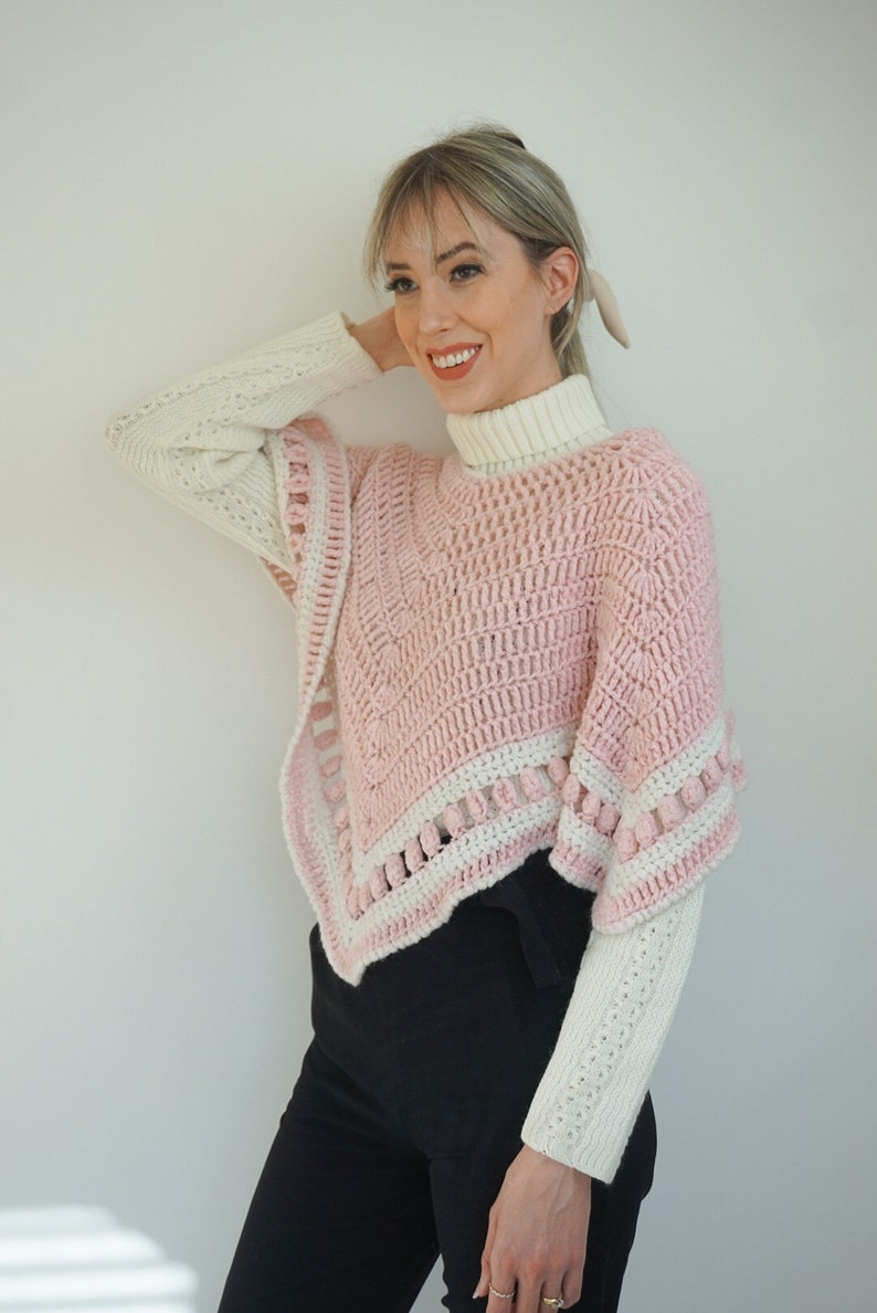 Cute Girly Candy Colored 70/'s Style Winter Shawl Top Vintage Pink /& White Crochet Handmade Poncho