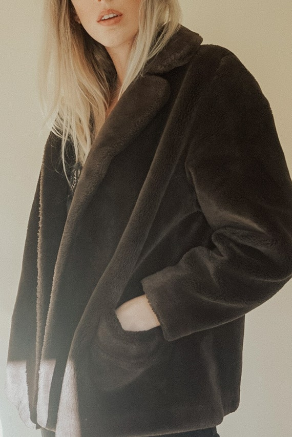 1960's Cloud No. 9 Brown Teddy Faux Fur Coat from