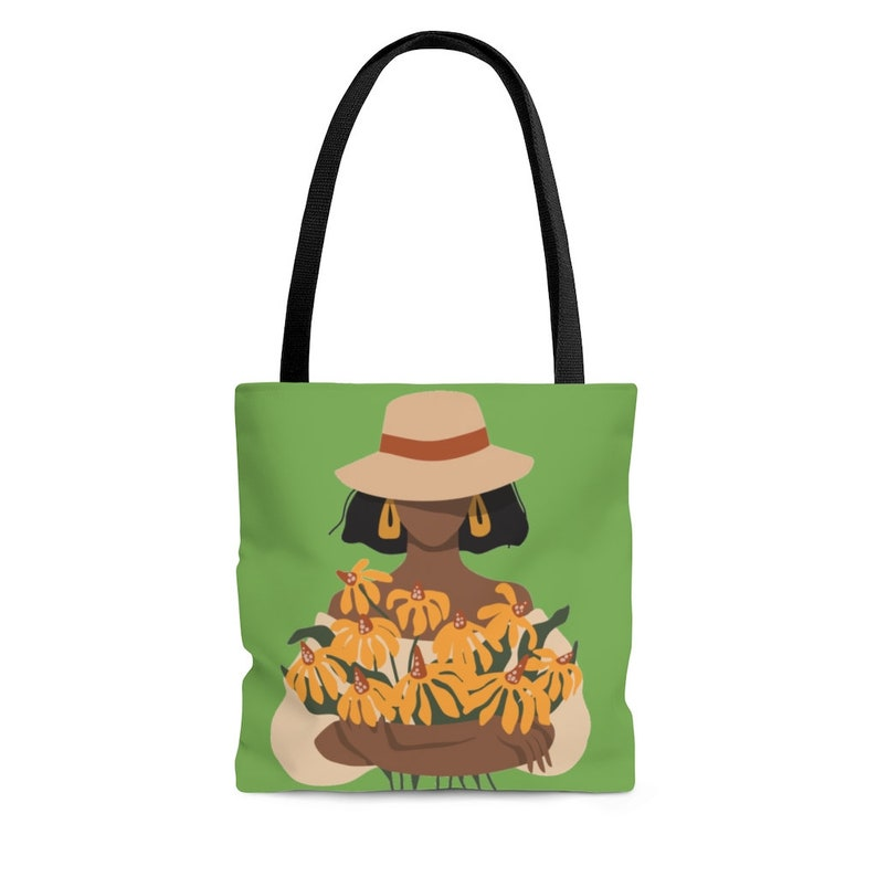 African American Woman Plants Handbag Plant Gifts Black Woman w Flowers Tote Bag Woman in Brim Hat Tote Bag Gifts for Her