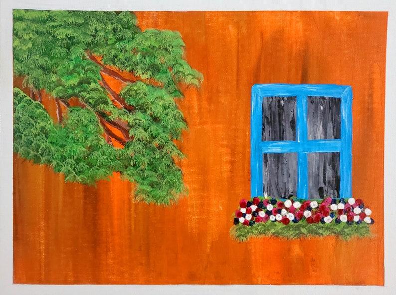 Hanging Garden Old Wall ORIGINAL ARTWORK Golden Background Vintage Window