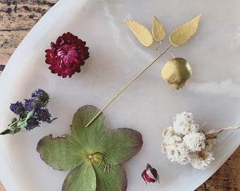Hand forged brass pomegranate stake / floral brass stem / bud vase arrangement decoration / pomegranate fertility fruit