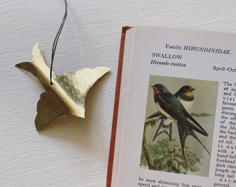 Hand forged brass bird / nature inspired brass object / SWALLOW brass ornament / jingle bell hanging ornament