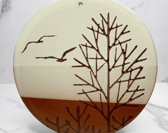 Vintage wall hanging tile / Otagiri ceramic hand painted art / retro home decoration design /