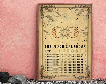 Moon calendar 2022 vintage printable wall art for interior decor. INSTANT DOWNLOAD. Moon sun magic witch Art. Gift for friends, family