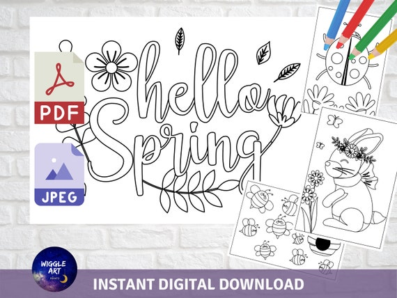 Spring Coloring Pages Pack  Instant Download Spring