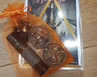 HECATE ... Witch Goddess Invocation Set ... Ritual Oil, Altar Card with Prayer, Crystal Talisman & Black Spell Candles ... Wicca, Pagan