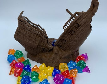 Pirate Ship Dice Tower by Fates End (D&D, Dungeons and Dragons, Tabletop gaming, Dice rolling tower, 3D Printed)