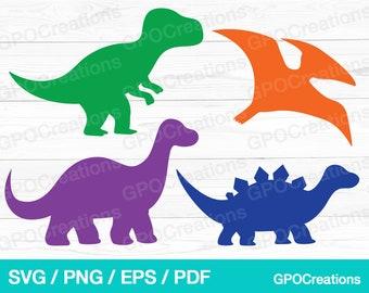 Dinosaur Svg, Dinosaur Silhouette Svg, Dinosaur Clipart, Dinosaur Print and Cut Svg, Cute Dinosaur Svg, T-Rex Svg, Instant Download
