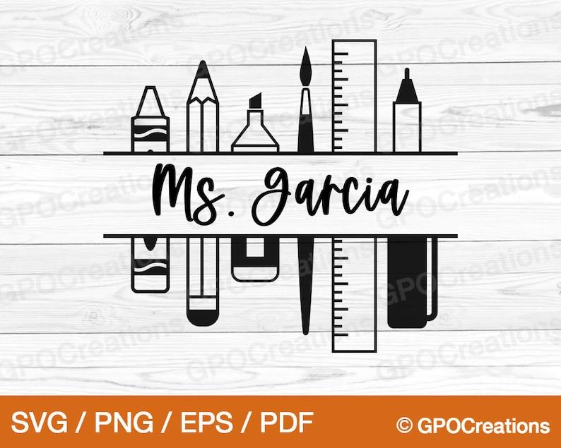 Teacher SVG School Supplies SVG Teacher Split Monogram SVG image 0