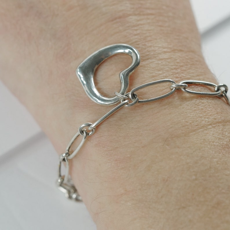 925 Stamped Heart Design 7 adjustable to smaller size A7 Delicate Vintage Silver Bracelet with Hearts