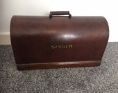 Vintage Singer Sewing Machine Bentwood Case Top with Key