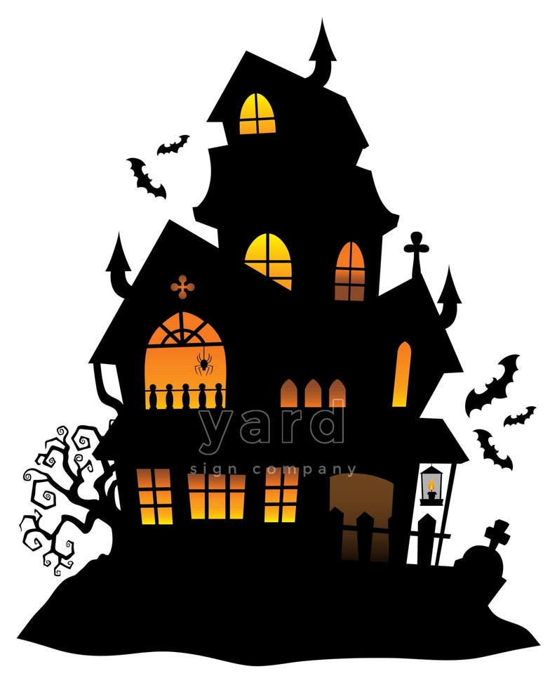 Halloween Haunted House Trick or Treating Cut Out Yard Sign