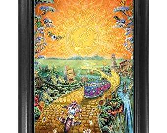 Grateful Dead Golden Road 3D Poster Wall Art Decor Framed Print | 14.5x18.5 Lenticular Rock Band Posters & Pictures |  American Beauty Art