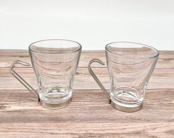 Set of 2 Vintage Clear Glass Rocks Glasses With Silver Handles - Boho / Eclectic Bar Cart Decor / Accessories