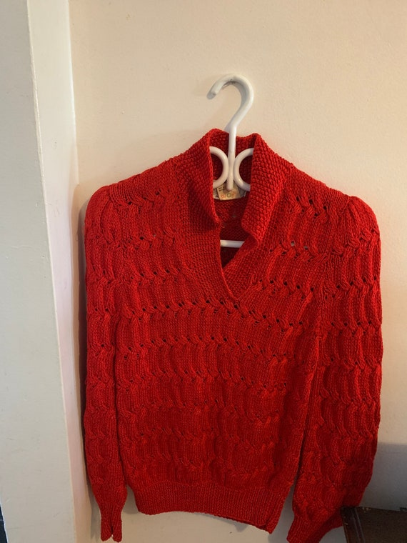 Vintage Nannell women's hand knit Red sweater