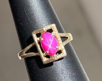 Loose Stone Unmounted Unsigned VINTAGE LINDE LINDY 6X4mm Pink Star Ruby Created Sapphire Made And Cut By Union Carbide 1960-1970