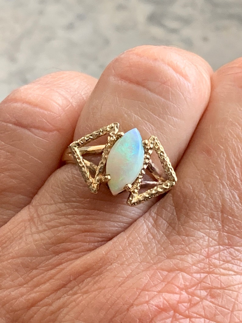 Mid Century Style Ring Colorful Marquise Opal Size 5 14 Vintage Genuine Opal Gold Ring 10k Solid Yellow Gold Band and Setting