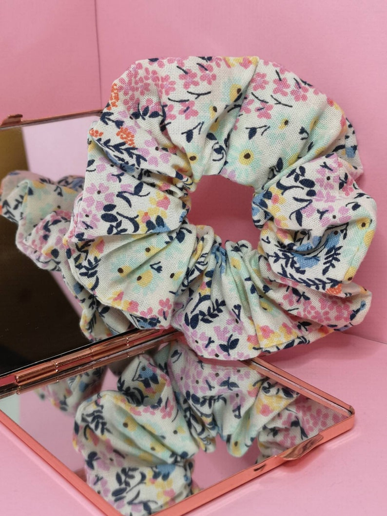 Floral scrunchie Handmade Pastel Aesthetic made in the uk ...
