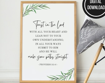 Proverbs 3:5-6 Trust In the Lord Printable Bible Verse Wall Art, Greenery Christian Wall Poster, Scripture Decor, Digital Instant Downloads