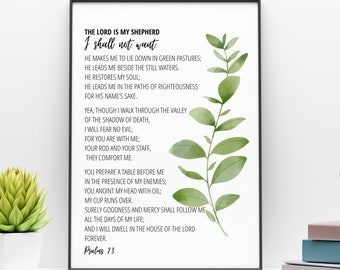 Psalm 23 Bible Verse Printable Wall Art    The Lord Is My Shepherd Printable   Scripture Digital Print   Bible Verse Quote  Instant Download