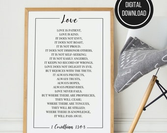Love Is Patient Printable Wall Art, 1 Corinthians 13, Printable Bible Verse, Scripture Wall Art Decor Christian Home, Popular Bible Verses
