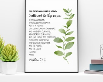 The Lord's Prayer Printable   Matthew 6:9-13   Our Father Prayer Wall Print   Scripture Printable   Bible Verse Printable   Instant Download