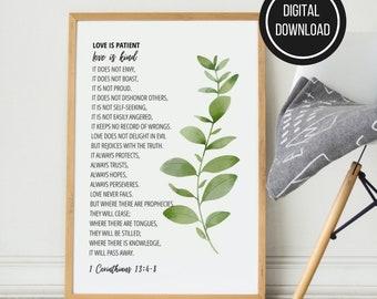 Love Is Patient Printable Wall Art, 1 Corinthians 13, Printable Bible Verse, Greenery Christian Wall Art, Scripture Decor, Digital Download