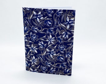 Saddle Stitch Notebook - Black Owned Notebook - Travelers Notebook Insert - Pocket Notebook - Self Care Journal - Blue Gold Notebook