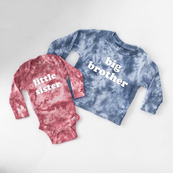 Big Sister OR Little Sister Custom Tie Dye Baby Onesie or Toddler T-Shirt