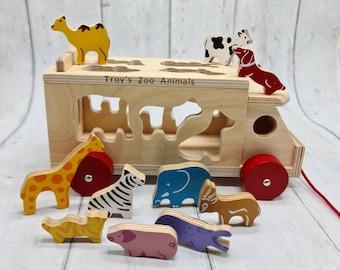 Personalised Pull Along Animal Shape Sorter Perfect gift for kids / Birthdays/ Christmas
