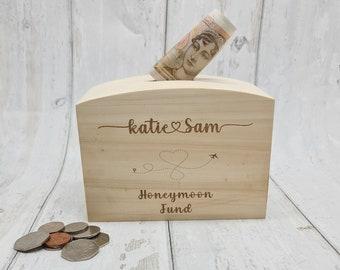 Personalised New Home Money Box Funds Savings Box Wooden Savings Money Box