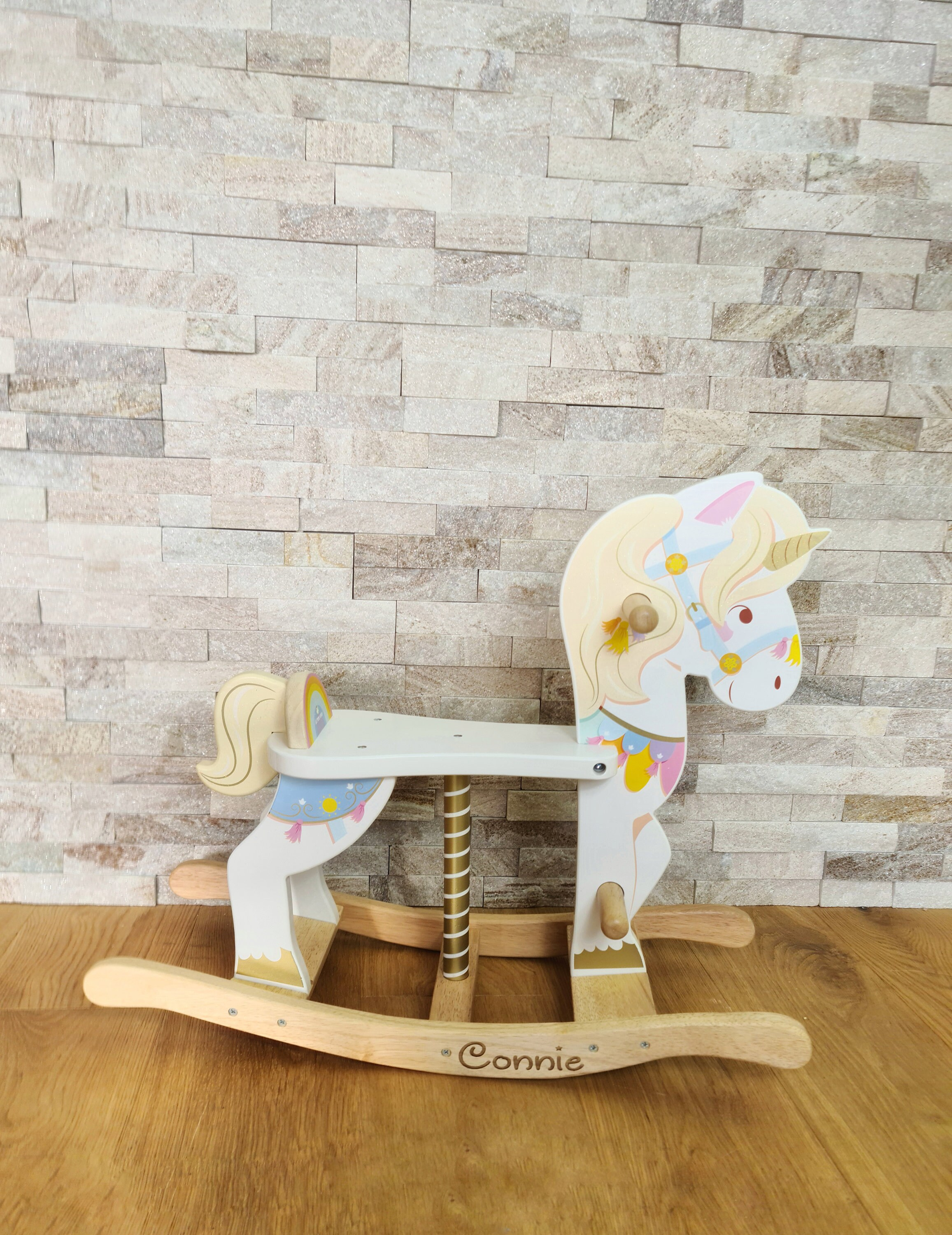 Personalised Rocking Unicorn Carousel- Wooden toy- Perfect Toddler Gift- Christmas Toy - Children's Birthday Gift-
