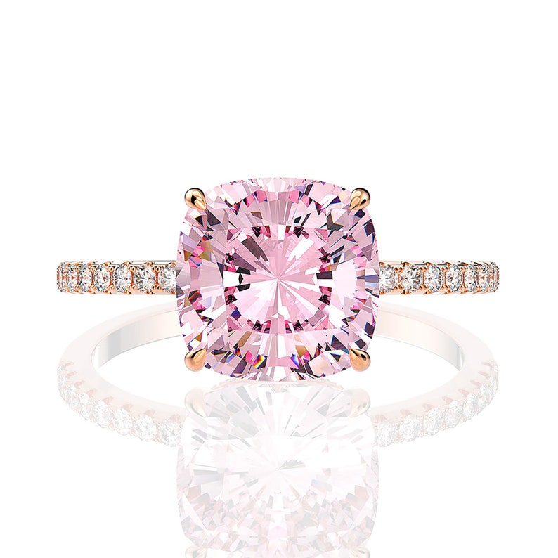 Pink Sapphire Square Ring 4 ct Pink Diamond Solitaire Ring Pink Rose Gold Engagement Ring Pink Diamond Engagement Ring Gift for her