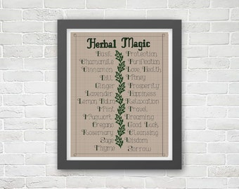 Magical properties of herbs PDF cross stitch embroidery pattern (Wicca, witchcraft, pagan, hecatic witch)