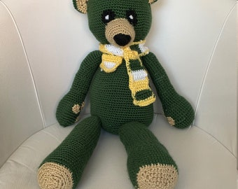 Blue /& White Acrylic Hand Knitted Jointed Teddy Bear with Rainbow Satin Ribbon 11-12 39.37 cm Green