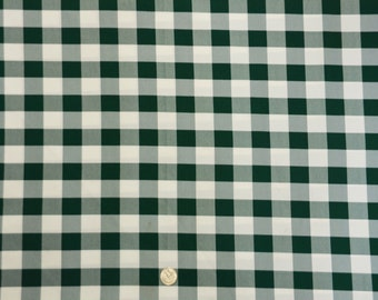ON SALE Hunter Green and White 1 Checkered Gingham PolyPoplin Fabric by the Yard