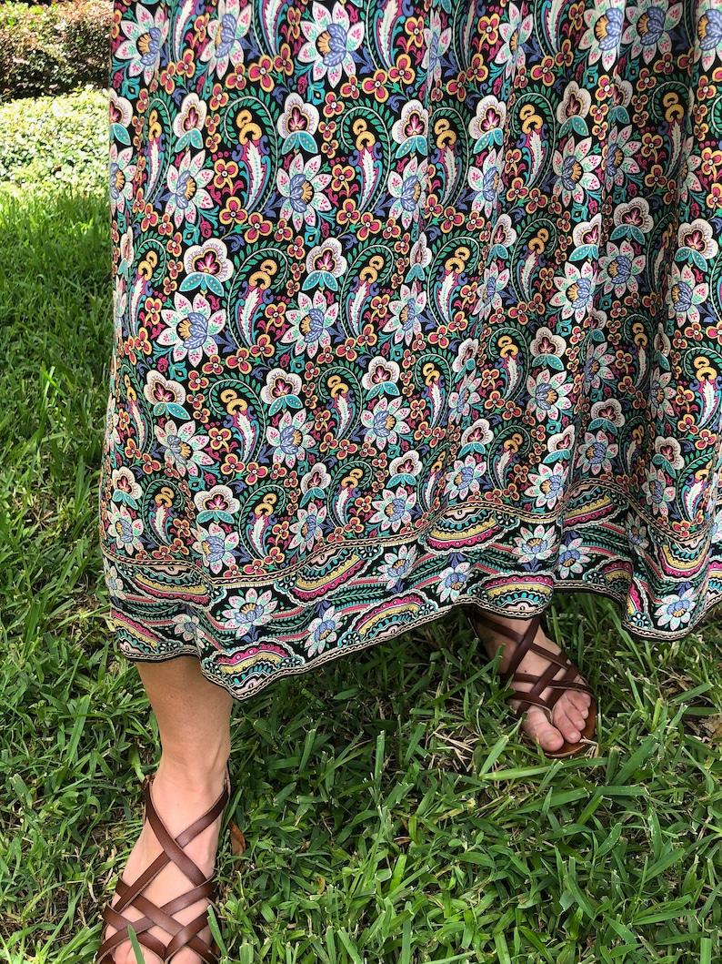 Vintage Bohemian High Waisted 60s 70s Skirt  Women/'s Size 14  Maxi Hipster Festival Boho Skirt  Pleated Peasant Skirt  Made in Japan