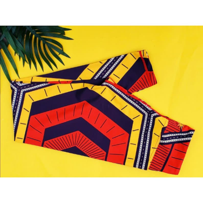 IBUCHI AFRICAN PRINT Activewear Leggings Red and yellow