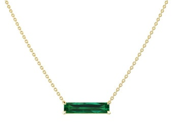 2 Ct Emerald Bar Necklace / Emerald Necklace / Anniversary Gift / Yellow Gold Emerald Necklace / Unique Emerald Jewelry / May Birthstone