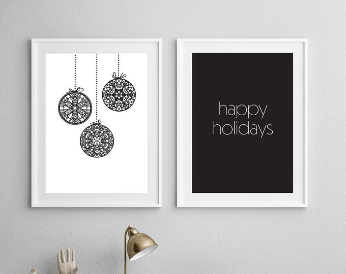 Christmas Decor - Happy Holidays - two downloadable prints - instant print - children's room or nursery decor