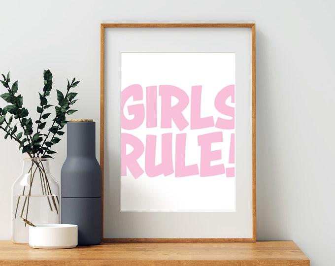 Girls Rule downloadable print - girl's room decor - pink printable - instant print
