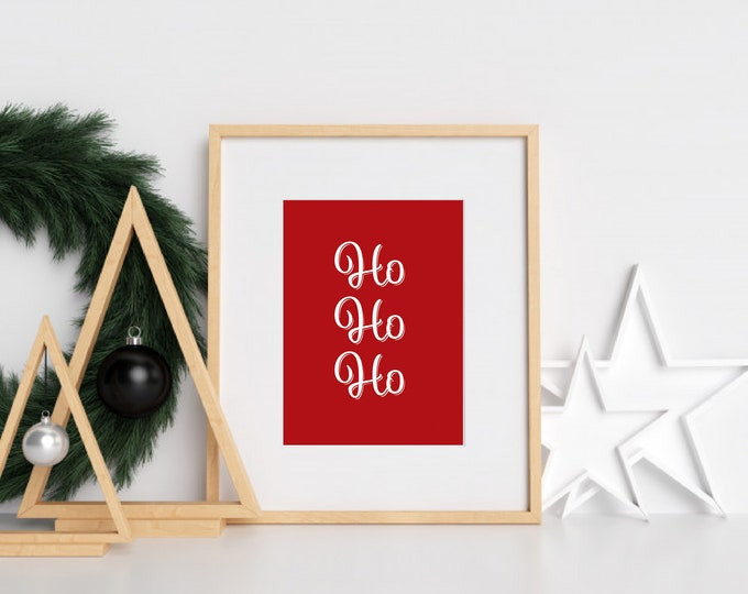 Christmas Decor - Ho Ho Ho red and white downloadable print for dining room, entryway or living room decor- simple art