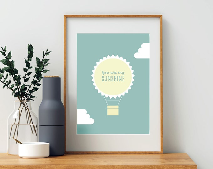 You Are My Sunshine hot air balloon downloadable print for nursery or children's room  - printable - instant print