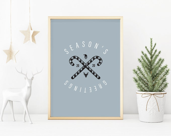 Christmas Decor - Season's Greetings blue and white downloadable print for dining room, entryway or living room decor- simple art
